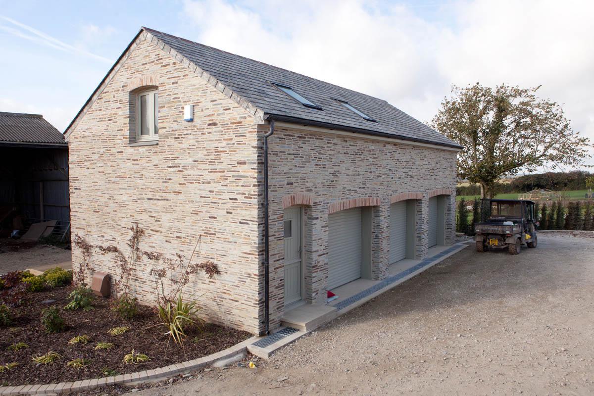 Trevear farm james morford for Stone garage designs